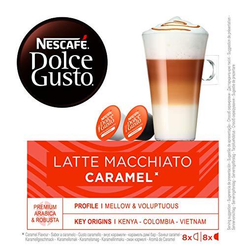 NESCAFÉ Dolce Gusto Café Latte Macchiato Caramel, Pack de 3 x 16 Cápsulas - Total: 48 Cápsulas...