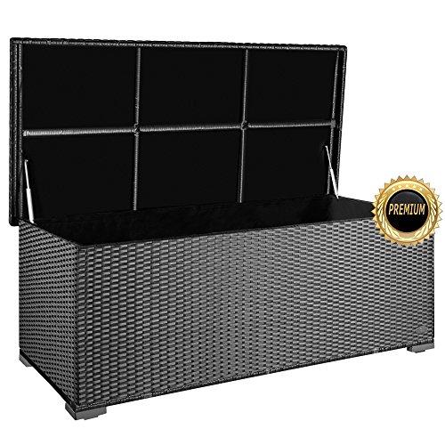 """PREMIUM """"Sienna"""" 650 L Kissenbox aus Polyrattan (es regnet nicht rein), L 155 cm x B 73 cm x H 60 cm ideal als Sitzbank nutzbar aufgrund des verstärkten Deckel mit 2 x Gasdruckstoßdämpfer, Farbe Silber"""