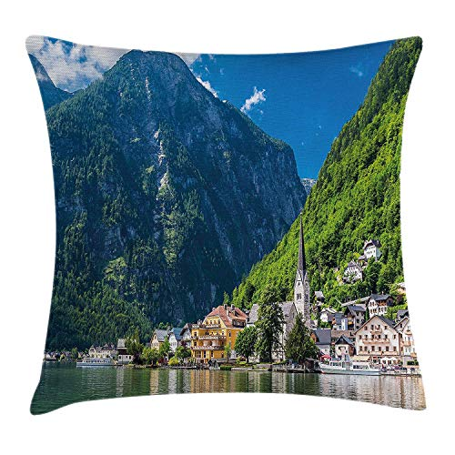 Landscape Throw Pillow Cushion Cover, Natural View of Hallstatt in Austria Mountains Forest Town Houses Clear Sky, Decorative Square Accent Pillow Case, 18 X 18 Inches, Green Blue White