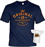 T-Shirt Set zum 40. Geburtstag - Original 40 Jahre zur Perfektion gereift - Plus gratis Happy Birthday Minishirt!
