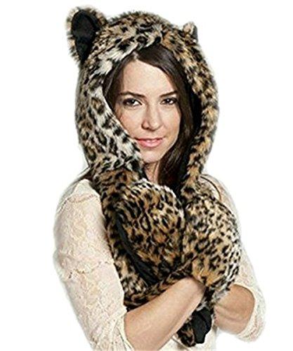 YunNasi Super Schöne lustige Kunstfell Tiermütze mit Handschuhe Schal Für Winter (Leopardenmuster)