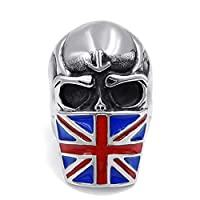 Elfasio Mens Stainless Steel Ring United Kingdom Flag Mask Skull Biker Jewelry