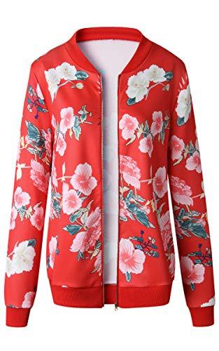 ECOWISH Damen Casual Jacke Blumenmuster Langarm Bomberjacke Reißverschluss Stehkragen Outwear Kurz Coat Herbst Frühling Rot S - 4