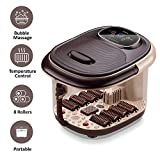 Lifelong LLM216 Electric Foot Spa Massager Machine with 8 Rollers, Digital Panel, Bubble Bath & Water Heating Technology for Pedicure, Pain Relief & Foot Care (Brown)