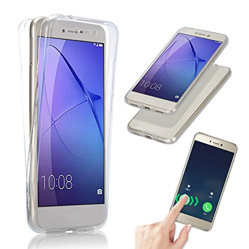 Vandot para Huawei P8 Lite 2017 / P9 Lite 2017 | Funda Carcasa Protectora 360 Grados | TPU en Transparente | Full Body Protección Completa Doble Tapa Delantera + Trasera Silicona Gel Smart Case Cover para Smartphone Móvil Huawei P9 Lite 2017 / P8 Lite 2017 / Huawei Nova Lite / Huawei Honor 8 Lite - Blanco