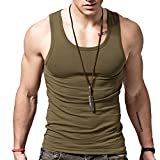 XDIAN Herren Tank Top Sport Gym Slim Fit Stretch Casual Baumwolle ärmelloses T-Shirt, Herren, Army Green