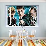 JUNMAONO 3D Harry Potter Wandaufkleber/Wandgemälde/Wand Poster/Wandbild Aufkleber/Wandbilder/Wandtattoo/Pinupbild/Beschriftung/Pad einfügen/Tapete/Tapezieren/Tapeten/Wand Zeitung/Wandmalerei/Haftnotiz/Fühlen Sie sich frei zu kleben/Instant Aufkleber/3D-Stereo-Wandaufkleber (-3)