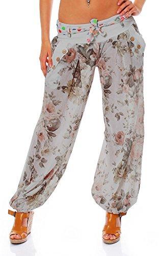 Moda Italy Damen Haremshose Pumphose Ballonhose Pluderhose Yogahose Aladinhose Harem Sommerhose mit Stoffgürtel Flower-Print, One Size Gr.36-42, Grau