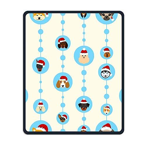 mit Köpfe Hunde in Santa Hüte Persönlichkeit Maus Pads mit Design, mit genähte Kanten, Rutschfeste Gummi-Spiel Mauspad