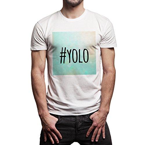 YOLO Blue Sky Edition Hashtag Background Herren T-Shirt Weiß
