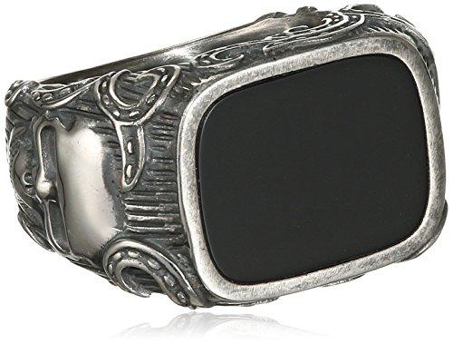 caï men Herren-Ring ROCKABILLY 925 Silber Onyx schwarz Gr. 68 (21.6) - C4166R/90/13/68