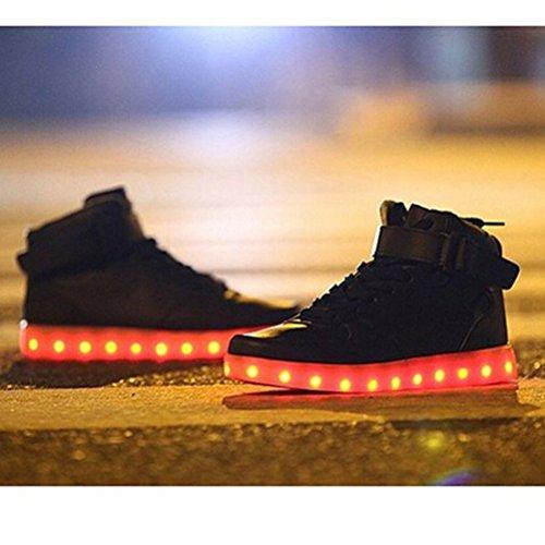 [Présents:petite serviette]JUNGLEST® de Couleur Mode Hith-Top Unisexe Homme Femme USB Charge LED Lumière Lumineux Clignotants Chaussures d Noir