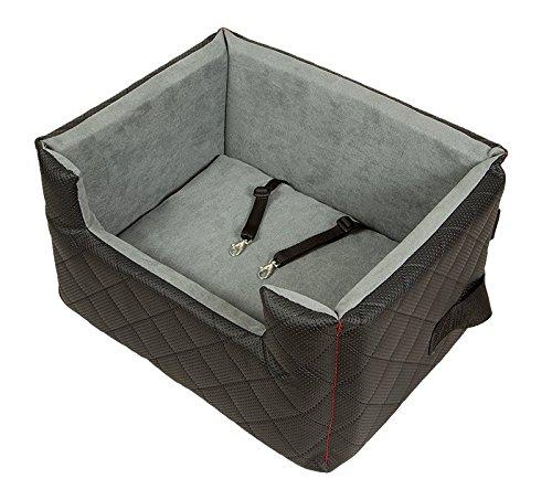 Amibelle komfortabler Hundesitz | LUX M Schwarz | L 47 x B 40 x H 25 cm | Autositz Rückbank/Vordersitz | Luxus für Hunde | ohne Chemie