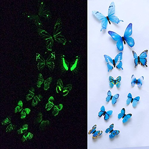 TAOtTAO 12pcs leuchtender Schmetterlings-Entwurfs-Abziehbild-Kunst-Wand-Aufkleber-Raum-magnetische Hauptdekor (Blau)