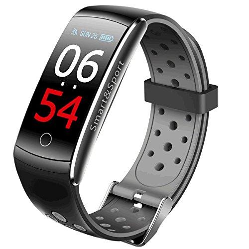 shouhuan Smart Health Armband Genaue Messung des Blutdrucks Herzfrequenz Schlaf Sport Bluetooth Armband 2 Strap (Farbe : SCHWARZ)