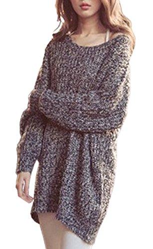 Freestyle Donna Shirts Mini Abito Girocollo Casuale Maglioni Oversize Sweatshirt Pullover Tops Maglietta Maniche Lunghe Maglia Maglione Grigio