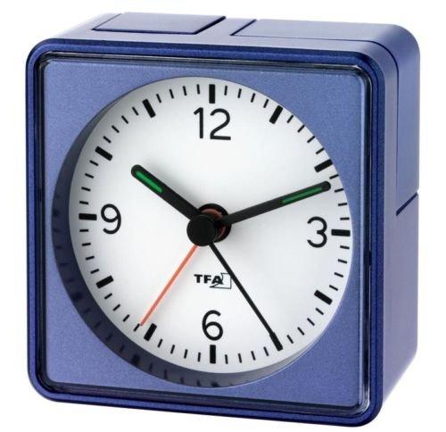 Analoger Lautlos-Wecker TFA 60.1013 Push Sweep-Uhrwerk ohne Ticken (Blau, mit Batterie)