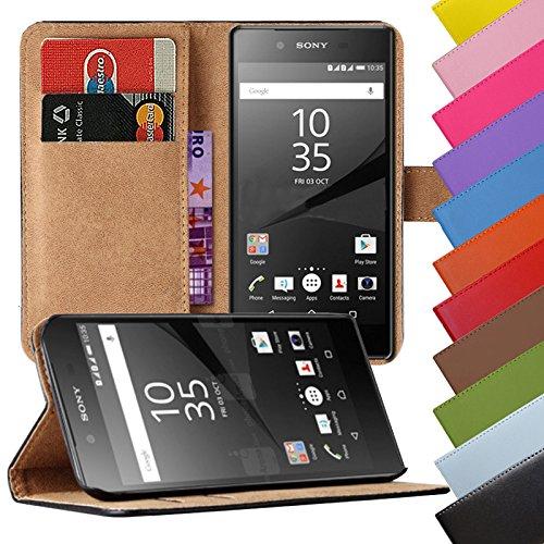 EximMobile - Book Case Handyhülle für Sony Xperia E1 in Schwarz mit Kartenfächer | Schutzhülle aus Kunstleder | Handytasche als Flip Case Cover | Handy Tasche | Etui Hülle Kunstledertasche
