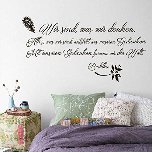 Vinyl Wandtattoo Wir sind, was wir denken Alles, was wir sind, entsteht aus unseren Gedanken Mit unseren Gedanken formen wir die Welt Buddha Zitat Yoga Wandaufkleber Wandsticker Wanddekoration Dekoration für Schlafzimmer S72