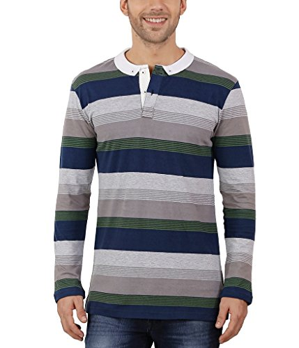Nick&Jess Mens Grey & Navy Multi Striped Full Sleeve Polo T-Shirt  available at amazon for Rs.319