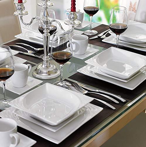 Malacasa, Série Monica, 60pcs Services de Table Complets Porcelaine, 12 Tasses, 12 Soucoupe, 12 Assiettes à Dessert, 12 Assiettes à Soupe, 12 Assiettes Plates pour 12 Personnes