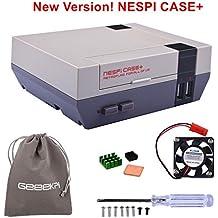 Retroflag NESPi Case + Plus Funktion POWER-Taste mit Safe Shutdown & Lüfter & Kühlkörper & Flanelltasche für RetroPie Raspberry Pi 3/2 Modell B & Raspberry Pi 3B + (NESPI Case +)