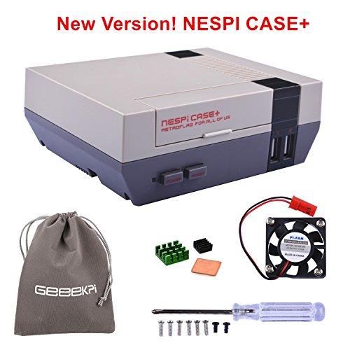 Retroflag NESPi Case + Plus Funktion POWER-Taste mit Safe Shutdown & Lüfter & Kühlkörper & Flanelltasche für RetroPie Raspberry Pi 3/2 Modell B & Raspberry Pi 3B + (NESPI Case +) (Raspberry Case Pi Nes)
