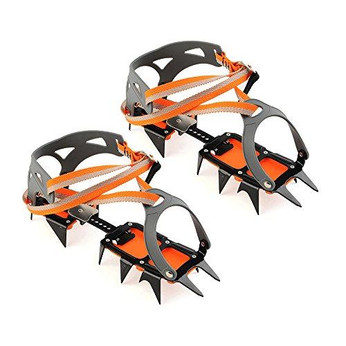 Docooler Engranaje de Escalada de 14 Puntos de Manganeso Crampons Dispositivo de Tracción de Hielo Alpinismo Glaciar Crampon