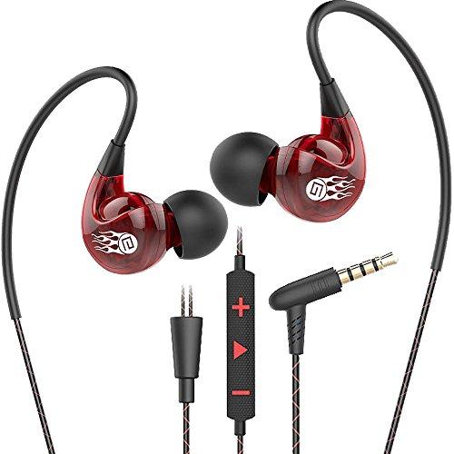 Running Gym Sport Kopfhörer, Bluebare Langsdom SP90 Jogging Kopfhörer mit Mic & Lautstärkeregler In Ear Earbuds Kopfhörer Kompatibel mit allen 3,5mm Klinke (Rot)