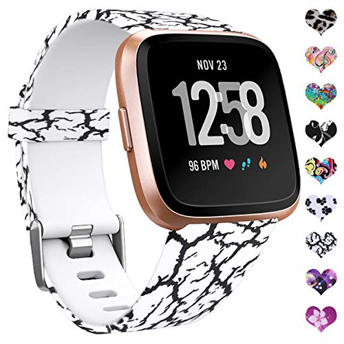 HUMENN Kompatibel für Fitbit Versa Armband/Fitbit Versa 2 Armband, Wasserdichtes Blume Ersatz Armbänder Musterband für Fitbit Versa/Fitbit Versa Lite Smartwatch, Klein Marmor
