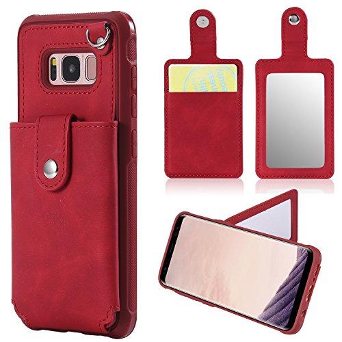 Galaxy S8 Hülle, NOKEA Spiegel Wallet Case Card Slot versteckte Tasche Layered 3-in-1 Hard PC Fall Silikon Stoßfest Heavy Duty High Impact Armor Hard Case für Samsung Galaxy S8 (2017), Red#1 -