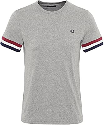 Fred Perry Men's Striped Cuff T-Shirt Steel