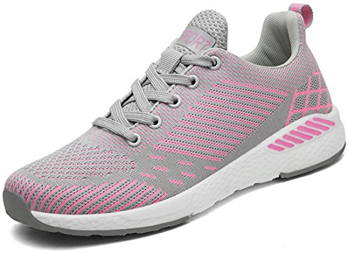 JOOMRA Damen Lightweight Trainers Schuhe Trainer-Schuh für Leichte Läufer und schwerere Läufer Frauen Frau Sneaker Rosa Grau 39 EU (40 Asien) (Schuh Dynamische Trainer)