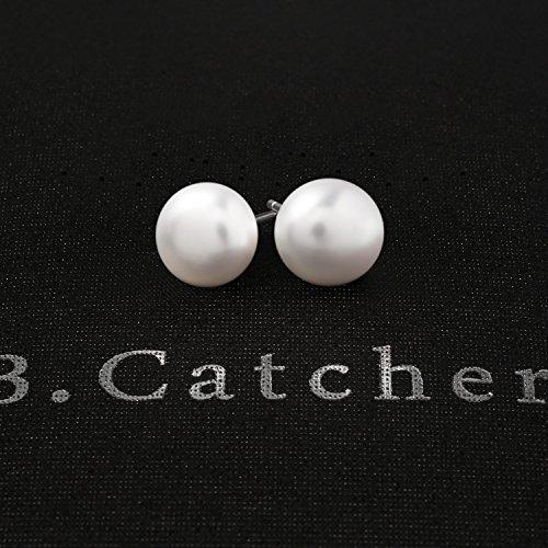 b33ea88edcd9 B.Catcher Pendientes Perlas Mujer 925 Plata de Ley Perlas de agua dulce 8mm  con Para Regalo San Valentín Originales