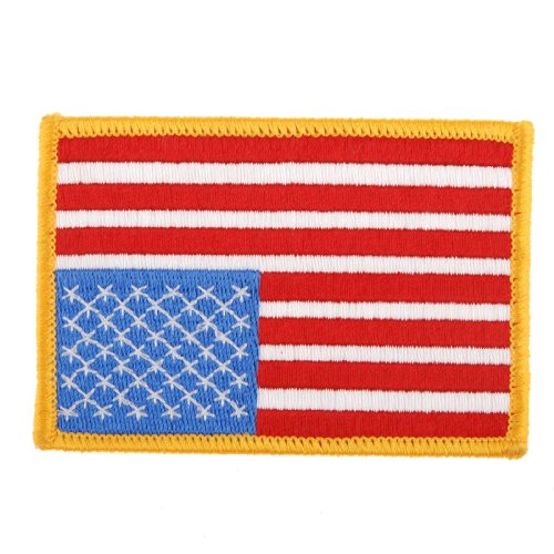 Generic American US Flag Embroidered Insignia Shoulder Patch Gold Border Color Yellow And Red by