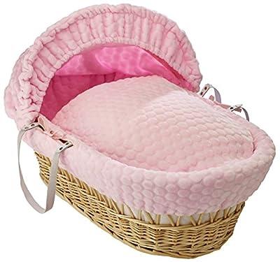 Británico de lujo hechos naturales moisés de mimbre con rosas cubiertas vestidores malvavisco. Soporte oscilante Deluxe incluido