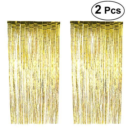Folie Lametta Fringe Vorhang 1x3M glänzend dekorative Vorhänge perfekt für Photo Booth Party Dekoration Kulisse Hochzeit Fenster Tür Fringe Vorhänge 2PCS ()