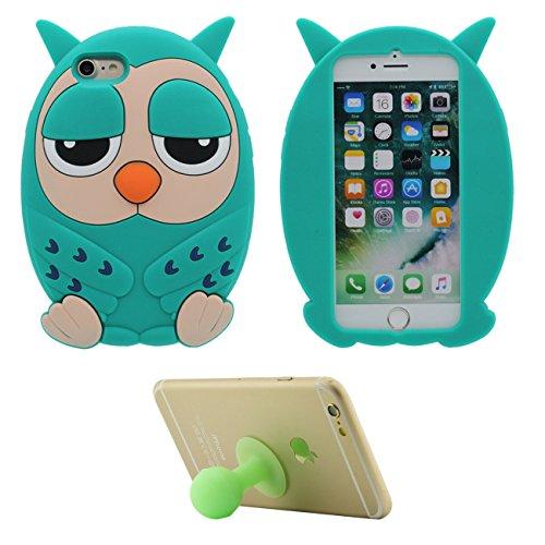 Coque Housse de Protection pour Apple iPhone 7 4.7 inch Doux Silicone Case Anti choc 3D Cartoon Mignonne Hibou Le Soulagement Forme Vert avec 1 Silicone Titulaire vert
