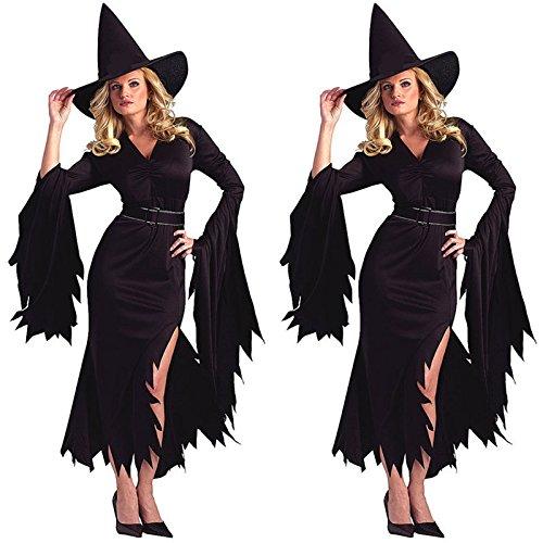 DLucc Schwarz mit langen Ärmeln Kleid Kostüme Halloween-Hexe- Cosplay (Kleid Lolita Ärmel)