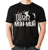 Siviwonder Unisex T-Shirt - MUH-MUH Kuh lustig witzig - dont touch my - Fun schwarz XL