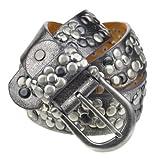 Bags4Less Nieten Gürtel / Nietengürtel / Model LK_187 auch in Übergrössen (Antik-Silber 105cm)