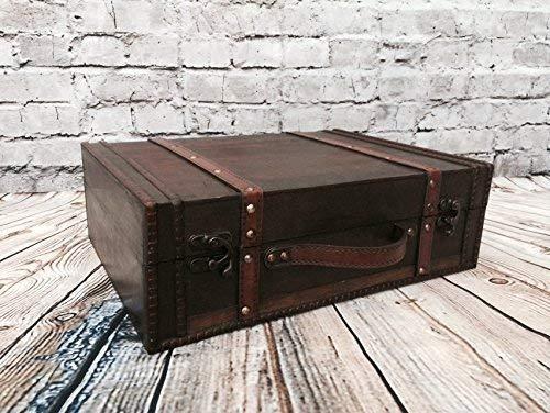 Große Antike Karte (Koffer aus Holz Antik-Look Lagerung Trunk Hochzeit Karten Halter Post Box 2 Größen)