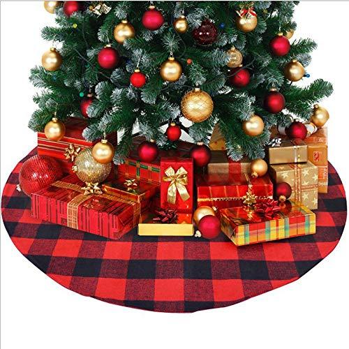 TONGS Oggetti Decorativi Di Natale,Ornamenti,Rosso e Nero Plaid Gonne Albero Di Natale Accessori per la Vacanza / A2 / 120cm
