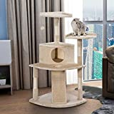 PURLOVE Large Cat Tree Cat Scratcher Activity Centre Scratching Post Climbing Tower Tree Cat Toys Mouse (Beige, Type 5)