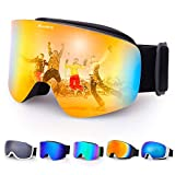 6412d2a7e3 Avoalre Gafas de Esquí Gafas de Deporte Unisex 2018 Gafas Anti Rayos UV  Lente Espejo con
