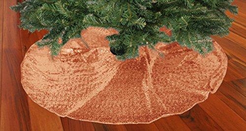 ShinyBeauty Rose Gold-48'' Runde Pailletten Stoff Baum Rock Christmass Baum schimmern Stoff Glitzer Stoff Neujahr Baum Decoration(125cm) Wicker Krippe