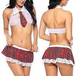 ADOME Mujer Falda Escuela Ropa Disfraz Picardias Lencería Estilo Colegiala(Blanco S)