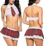 ADOME Mujer Cosplay Mini Falda Picardias Disfraza Lencería Escuela(Rosa L)