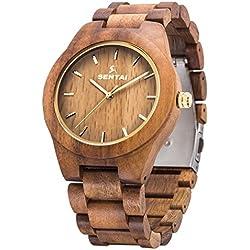 Montre en bois pour homme Sentai Bracelet-montre en bois d'acacia naturel Montre à quartz fait à la main montre vintage en bois avec une grande cadran et d'aiguilles lumineuses Brun