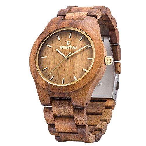 Orologio da uomo in legno, orologi al quarzo vintage fatti a mano, Sentai orologio da polso in legno naturale - legno di acacia